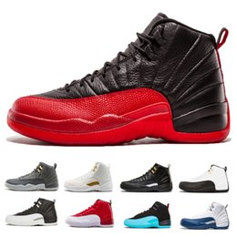 Classic 12 men Basketball Shoes white black Flu Game French gamma blue playoffs Gym red wolf grey trainer sports shoes Sneakers us 8-13