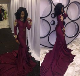 2018 Fashion Women Wine Red Prom Dress Sexy South African Gold Appliques Burgundy Long Formal Evening Party Gown Custom Made Plus Size