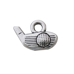Wholesale Antique Silver Color Golf Charms Alloy Sport Golfball Vintage Charms 50pcs AAC787