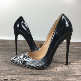 New lady high heels snake pattern shallow shoes exclusive patent brand PU leather Ms. 10 cm 12 cm female model high