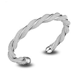 Hot Sell ! Wholesale Jewelry Hot Sell ! Wholesale Jewelry 925 Sterling Silver Fashion Weaved Cuff Bangle Hot Gift