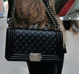 Hot Sale Messenger Bag BLACK Leather Cross Body Bags Totes Women Vintage Handbags Bag Bronze Silver Gold Chain Ladies Shoulder Bags
