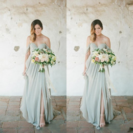 2019 Mint Country Boho Style Chiffon Bridesmaids Dresses A Line Pleats Long Wedding Guest Party Evening Prom Gowns Cheap BM0182