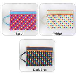Zipper Bag A4 Double Layers ZipperPouch Clear Storage Bags Office Document Bags Document File Pocket, Grid Colour Random