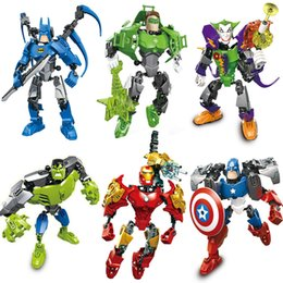 Big Building Block Puzzle Minifig Super heros Toys Captain America Hulk Ironman Superman Spiderman Mini Figure Toys with carton box packages