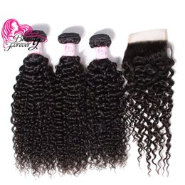 Beauty Forever 8A Malaysian Curly Human Hair Bundles With Closure 100% Human Hair Weave With Lace Closure Virgin Human Hair Extension