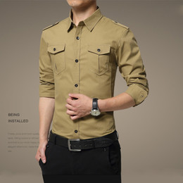 Wholesale men's long sleeved shirts, military equipment, Casual Shirts, lapel, single buckle, shoulder straps, pure color, all cotton shirts