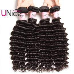 UNice Hair Remy Malaysian Deep Wave Brazilian 4 Bundles 100% Human Hair Extensions Unprocessed Wholesale Cheap Hair Products Weave Bundles