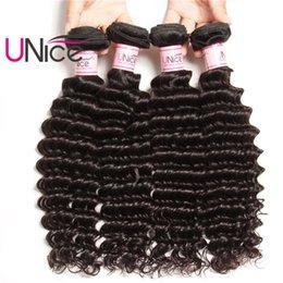 UNice Hair Remy Malaysian Deep Wave Brazilian 4 Bundles 100% Human Hair Extensions Unprocessed Wholesale Cheap Hair Products Weave Bundles