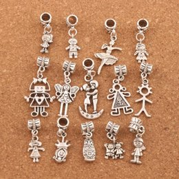 Pretty Girl Boy Charm Beads 100pc lot Tibetan Silver Fit European Bracelet Jewelry DIY Loose Beads BM54