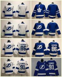 Youth Kids Tampa Bay Lightning #91 Steven Stamko Jerseys 86 Nikita Kucherov Blue White Hockey Jersey Stitched