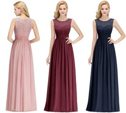 $39 New Arrival Blush Pink Navy Blue Burgundy Long Bridesmaid Dresses Lace Chiffon Floor Length Beach Garden Maid of Honor Gown CPS1067