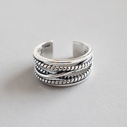 S925 sterling silver ring multi-layer winding anemone retro adjustment open-loop personality casual fashion