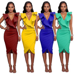 Elegant Ruffle Sleeveless Women Party Wear To Work Fitted Stretch Slim V Neck Wiggle Pencil Sheath Dress Cocktail Dress FS3490