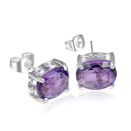 5 pairs  Lot Xmas Gift Jewelry Lucky Shine Oval Shaped Purple Crystal Unisex Gems 925 Sterling Silver Plated Stud Earrings