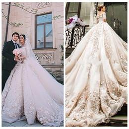 2018 Luxurious Lace Appliques Michael Cinco Castle Church Wedding Dresses A Line 3D Floral Adorned Beaded Cathedral Train Bridal Gowns