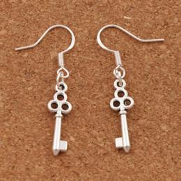 Flower Slim Key Earrings 925 Silver Fish Ear Hook 50pairs lot Dangle 6.5x39 mm Chandelier Jewelry E881