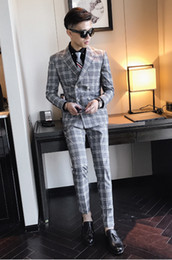 3 piece tweed suit men's plaid suit jacket khaki gray blue groom wedding dress suit men's self-cultivation