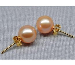 Charming South Sea Round Gold Pink Stud Earrings 10-11mm Pearl Earring 14k Gold Accessories