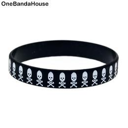 Wholesale 100PCS Lot The Skull Logo Fashion Wristband Printed Silicone Bracelet Hip Hop Band Punk Style
