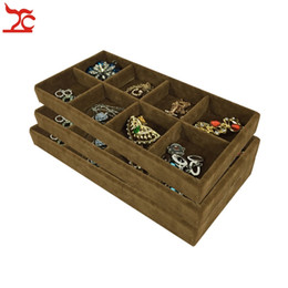 Free Shipping Brown Ice Velvet 8 Grids Jewelry Display Tray Decoration Lipstick Storage Box Four Color [ Brown ]