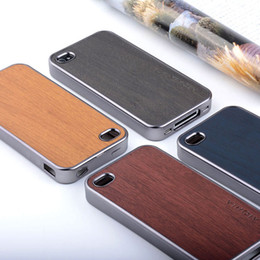 1 Pieces Wooden design case for iPhone 5 5S SE 4S soft Chromed TPU material & wood PU leather skin covers coque fundas for iPhone 4