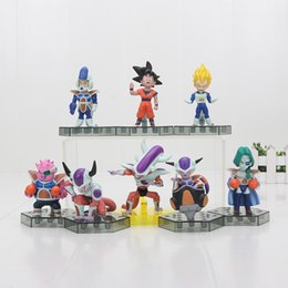 8pcs set Anime Cartoon Dragon Ball Z Sun Goku Vegeta Frieza PVC Action Figure Collectible Model Toys Doll