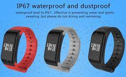Newest Smartband F1 Smartband Smart Wristbands Sport Band Bracelet fitness tracker Heart Rate Monitor IP67 Waterproof Universal Style