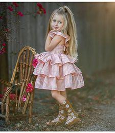 Retail Baby Girls Plaid fly sleeve halter cake pettiskirt dress Children Open Back Pleated Tutu Party Dress Birthday kids designer clothes