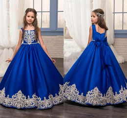 Princess 2019 Royal Blue Flower Girls Dresses Toddler Kids Girls Pageant Dresses For Weddings Appliques Little Kids Birthday Communion Gowns