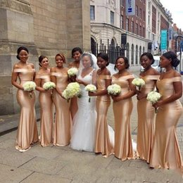 African Off The Shoulder Mermaid Bridesmaids Dresses 2019 Gold Floor Length Sleeveless Sexy Black Girls Wedding Guest Prom Dress