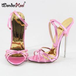 Wonderheel 2017 summer Extreme high heel 16cm metal heel Sexy High Heel Ankle strap black patent fashion show hot women sandals