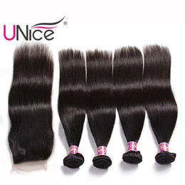 UNice Hair Straight 4 Bundles With Closure Malaysian Virgin 100% Human Hair Extensions Unprocessed Hair Weaves 4 Bundle With Lace Closure