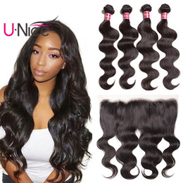 UNice Hair Malaysian Hair Body Wave Bundles With Frontal Virgin Human Hair Lace Frontal Closure With Weave Bundles Bulk Cheap Wholesale