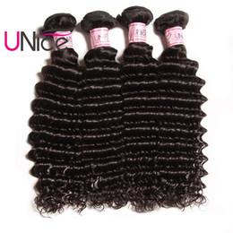 UNice Hair Indian Deep Wave 4 Bundles Remy Brazilian Hair Extensions Unprocessed 100% Human Hair Products Wholesale Cheap Deep Weave Bundles