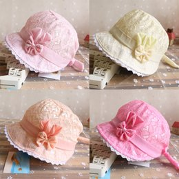 Summer Cute Princess Baby Hat With Bow Solid Color Lace Hollow Baby Girl Cap Toddler Kids Beach Bucket Hats frees hipping high quality 2018