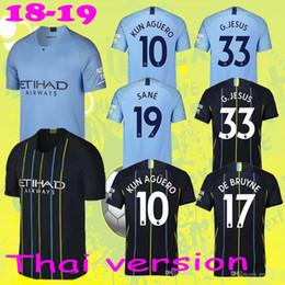 2018 2019 Premier League KUN AGUERO SANE G.JESUS Soccer Jersey MAN STERLING CITY DE BRUYNE Custom Blue Black 18 19 Football Shirt