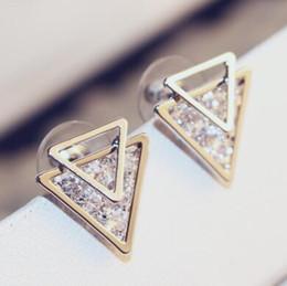 New Style Double triangle Stud Earrings for Women Luxury Cubic Zircon Earrings Korean Jewelry Fashion Accessories