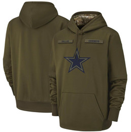 2018 men Dallas Sweatshirt Cowboys Salute to Service Sideline Therma Performance Pullover Hoodie Olive