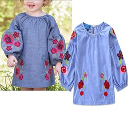 Retail Baby girls Long Sleeve Embroidered flower puff sleeve Cotton Dress Children Autumn Princess Party Dresses Christmas boutique Clothing