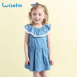 Wisefin New Girl Summer Dress Soft Cotton Draped Pater Pan Collar Sleeveless Blue Dress Kids Cute Summer cowboy Dresses