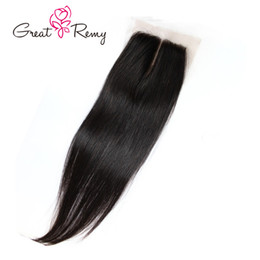 Greatremy® Unprocessed Brazilian Virgin Human Hair Lace Closure Silky Straight Natural Color 4x4 Hair Weave Cheap Brazilian Hair Closures