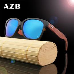 AZB 2018 Retro Bamboo Wood Sunglasses Men Women Brand Designer Goggles Gold Mirror Sun Glasses UV400