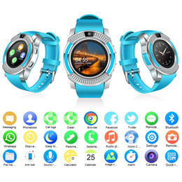 Universal V8 Anti-lost Smartwatch For Apple Samsung Android Phone Bluetooth IPS Touch Screen Smart Watches Camera TF Card Connection Fitbit