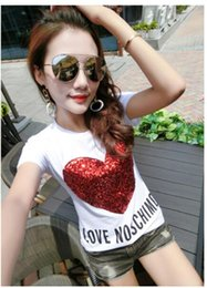 Fashion Summer T-Shirt Plus size Women Shirt Elegant Sequins Love cotton Casual loose short sleeve Female Tops S-3XL Girl Streetwear