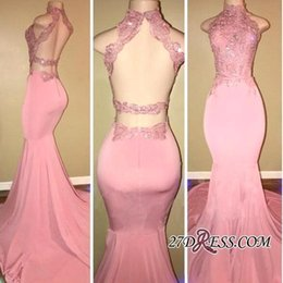 2018 Real Images Pink Open-Back High-Neck Prom Dresses Long Mermaid Appliques Evening Dress Sequin Special Occasion Party Gowns BA7748