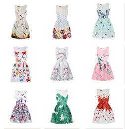 Baby Girls Floral Butterfly Print Dress 2018 summer Big Children Party short sleeve princess Dress Kids Clothing 38 colors C684