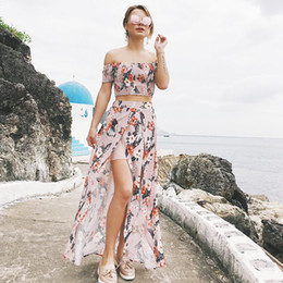new type 2pcs in one short sleeved vest printed two piece split skirt