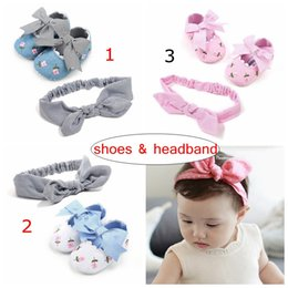 ins summer spring infant floral print walking shoes with bowknot & infant cotton headband 2pc set for 0-2years free ship