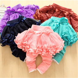 Wholesale 4pcs lot Girl's Skirt Tight trousers Kids pants Girl's Culottes Baby Lace Net Yarn Leggings